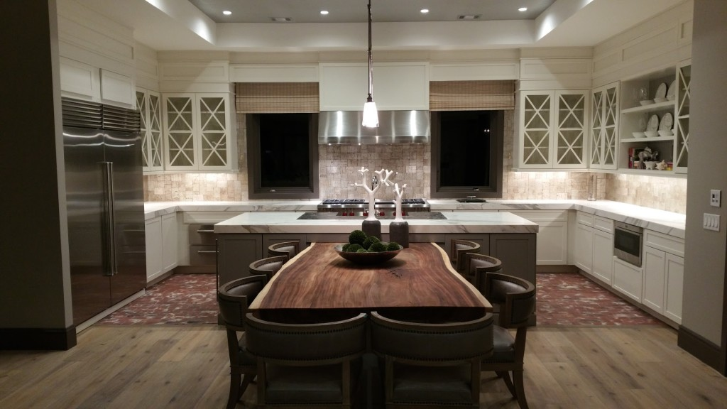 Photo of a beautiful kitchen table created using a live-edge wood slab.