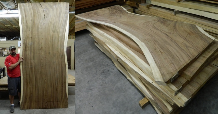 Photo of some of the live-edge wood slabs we currently have in stock.